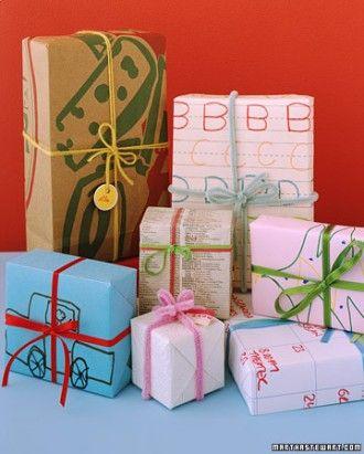 paquet cadeau dessin enfants recyclés alternative papier