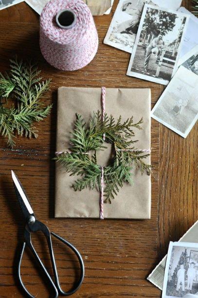 alternative papier cadeau kraft conifère sapin