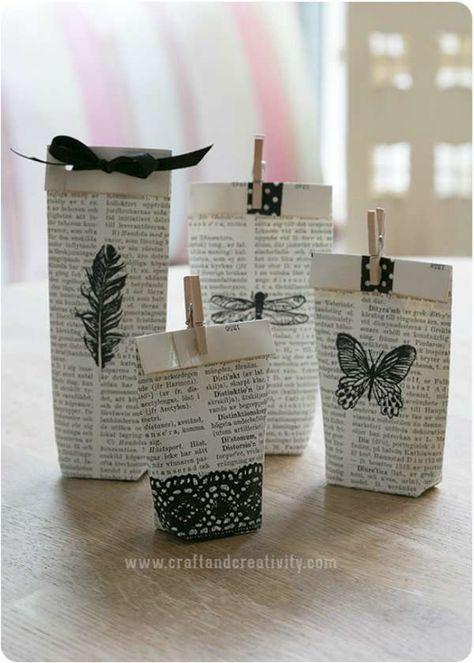 alternative papier cadeau journal tampon pince linge