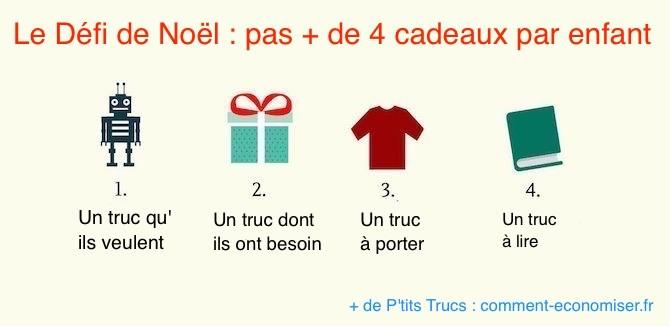 4 cadeaux maximum pour noël enfants