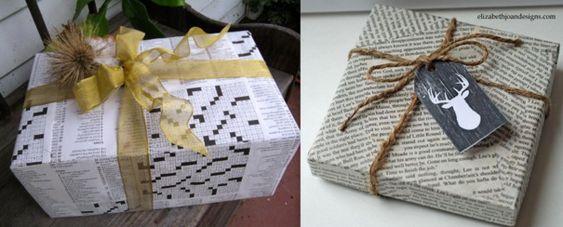 Paquet cadeau papier journal recyclé alternative